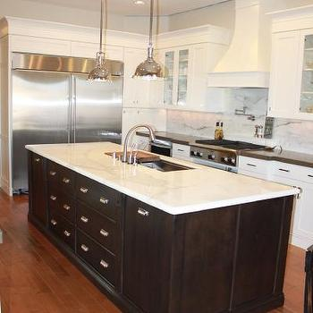 Calcutta Marble Countertops, Transitional, kitchen, Sherwin Williams canvas tan
