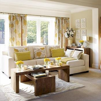 living rooms - yellow and gray curtains, yellow and gray drapes, yellow and gray window panels, gray and yellow curtains, gray and yellow drapes, gray and yellow window panels, sectional sofa, ivory sectional, wood coffee tables,