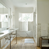 Eric Roth Photo - bathrooms - rustic, bathroom, double, sinks, marble, countertops, chrome, base, rustic, wmirrors, chrome, sconces, marble, backsplash,