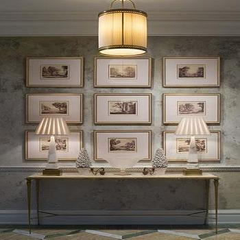 Phoebe Howard - entrances/foyers - vintage lamps, vintage table lamps, alabaster lamps, alabaster table lamps, vintage alabaster lamps, antique brass console table, brass and marble console table, foyer table, pleated lamp shades,