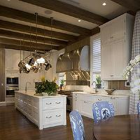 James Michael Howard - kitchens - exposed, wood, beams, hood, pot, rack, white, kitchen, cabinets, marble, countertops, wood beams, exposed wood beams, exposed beams ceiling, exposed wood beams ceiling,
