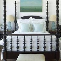 Phoebe Howard - bedrooms - poster bed, black poster bed, 4 poster bed, black 4 poster bed, art over bed, blue gourd lamps, triple gourd lamps, blue triple gourd lamps, blue shams, euro shams, blue euro shams, linen bench,