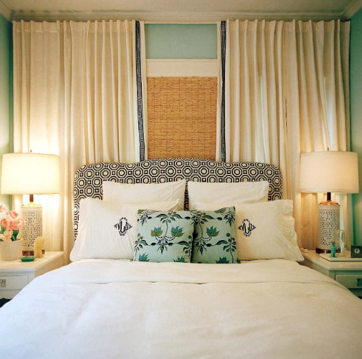 Turquoise LA - bedrooms - Benjamin Moore - China Blue - Alexander Henry Hollywood Fabric, bed in front of window, curtains behind bed, curtains behind headboard, drapes  behind bed, draped behind headboard, geometric headboard, black and white headboard, headboard in front of window, turquoise walls, turquoise wall paint, turquoise paint, turquoise paint colors, monogrammed shams, monogrammed pillows,