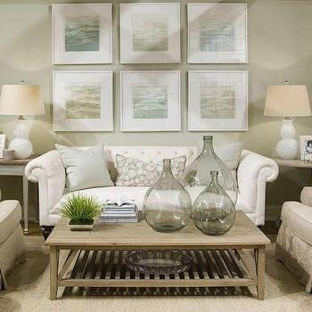 Phoebe Howard - living rooms - chesterfield sofa, white chesterfield sofa, beach cottage living room, white gourd lamps,  Soft green beachy coastal