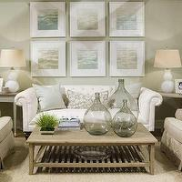 Phoebe Howard - living rooms - beachy, white, lamps, white, chesterfield, tufted, sofa, recycled, green, glass, bottles, coffee, table, accent, tables, beige, slipcovered, accent, chairs, sisal, rug, beachy, blue, green, art, living room,