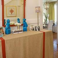 Palmer Weiss - entrances/foyers - turquoise, blue, foo, dogs, red, ornate, mirror, red, coral, art, beige, table, skirt, red, ribbon, trim, entrance, foyer, foo dogs, blue foo dogs, turquoise foo dogs, turquoise blue foo dogs, Turquoise Blue Foo Dogs,