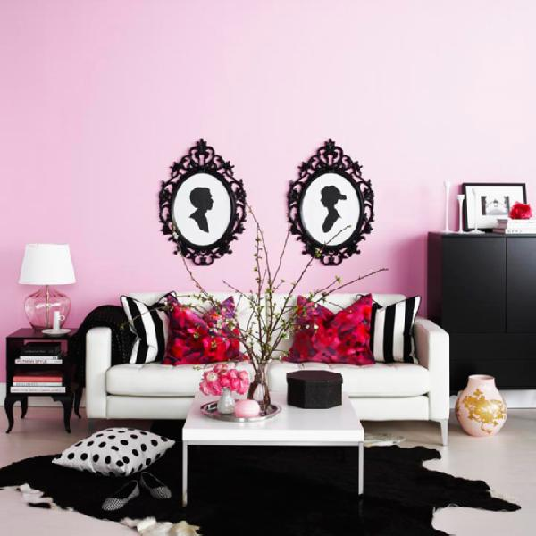 living rooms - Ikea Ung Drill Frame, Ikea Klubbo, Ikea Trollsta, pink living room, pink and black living room, ung drill, ikea sofa, ikea coffee table, black cowhide rug, ikea frames, ikea picture frames,