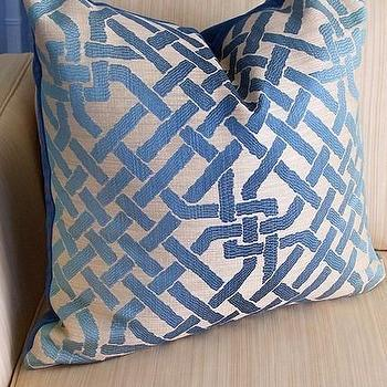 Pillows - Kelly Wearstler Ombre Maze Cushion Teal by plumcushion on Etsy - pillow, pillows, blue