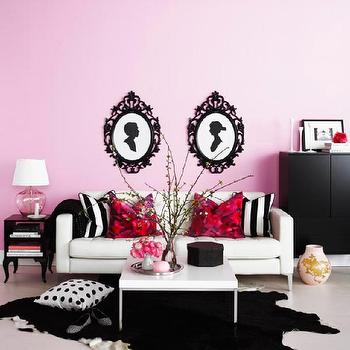 living rooms - pink living room, pink and black living room, ung drill, ikea sofa, ikea coffee table, black cowhide rug, ikea frames, ikea picture frames, , Ikea Ung Drill Frame, Ikea Klubbo, Ikea Trollsta,