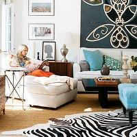 Zoldan Interiors - living rooms - blue, tufted, ottoman, white, chaise, lounge, sofa, blue, green, pillows, sisal, rug, Round Directoire Table, Zebra Cowhide Rug,