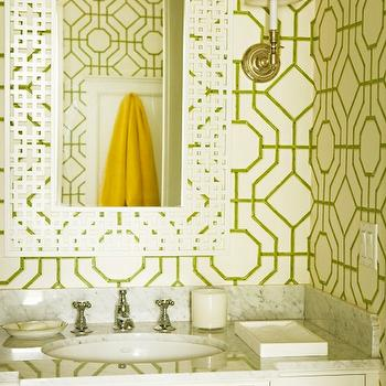 Elizabeth Dinkel Design - bathrooms - bamboo wallpaper, bathroom wallpaper, geometric wallpaper, white and green bamboo wallpaper, white and green geometric wallpaper, white geometric mirror, , Cowtan & Tout Bamboo Wallpaper,