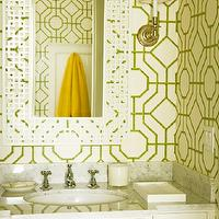 Elizabeth Dinkel Design - bathrooms - wallpaper, green, bamboo, trellis, lattice, white, marble, carrara, fretwork, mirror, cowtan and tout bamboo wallpaper, Cowtan &amp; Tout Bamboo Wallpaper,
