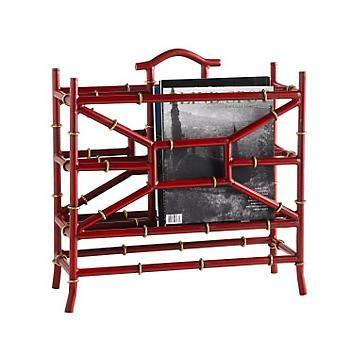 Decor/Accessories - Iron Bamboo Magazine Rack | Gump's San Francisco - faux, bamboo, red, magazine, rack