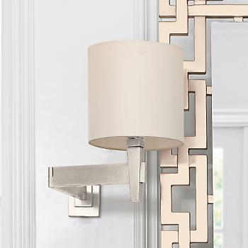 Lighting - Morgan Sconce, Brushed-Chrome | Gump's San Francisco - chrome, swing, arm, sconce