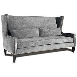 Seating - JAR Designs 'The Huntley' Smoke Sofa | Overstock.com - wingback, nailhead, trim, sofa