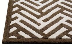 Rugs - Portland Handtufted Wool Rug in White and Brown in Various Sizes - brown, rug