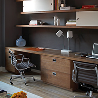 S. Russell Groves - dens/libraries/offices - black, aluminum, Eames, office, chair, brown, file, cabinets, desk, top, brown, wood, floating, shelves, black, walls, paint, color, office, den, Eames Aluminum Management Chair,