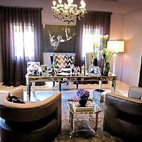 dens/libraries/offices - Khloe Kardashian, home, office, khloe kardashian, , mirrored, desk, purple, drapes, mirrored, table, lilac, purple, walls, paint, color, mirrored desk, mirrored table, Kelly Wearstler Flair - Noir,