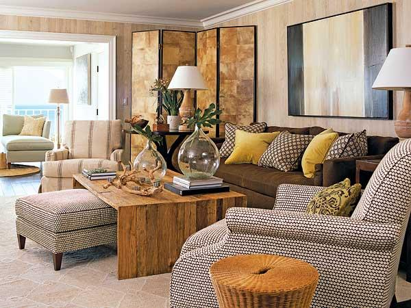 brown and yellow living room transitional living room
