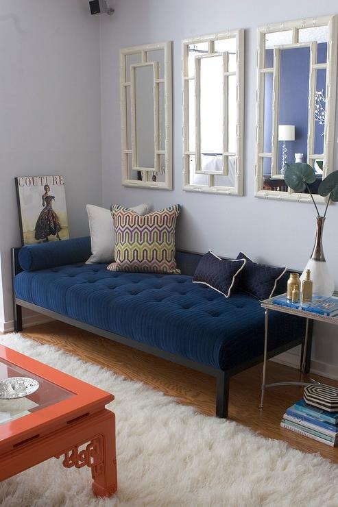 Blue Velvet Bench Contemporary Living Room Erinn V