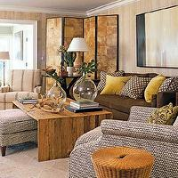 Coastal Living - living rooms - living room concept, brown, sofa, brown, yellow, pillows, fray, chairs, lamps,  Chocolate brown sofa, yellow