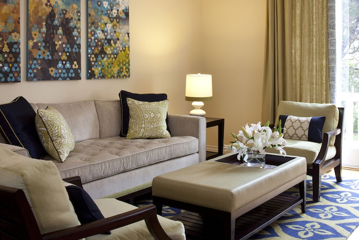 Tufted Couch Contemporary Living Room Artistic