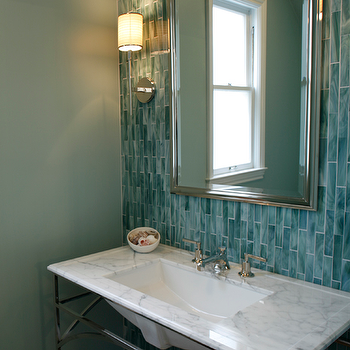 Artistic Designs for Living - bathrooms - turquoise tiles, turquoise blue tiles, turquoise glass tiles, turquoise blue glass tiles, turquoise backsplash, turquoise blue backsplash, turquoise tiled bathroom, turquoise glass tile backspalsh, white marble washstand, Aberdeen Wall Sconce,