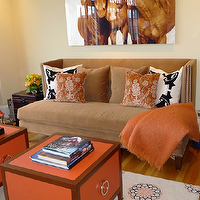 Artistic Designs for Living - living rooms - brown, wingback, velvet, sofa, horse, art, orange, throw, blanket, orange, silk, pillows, camel brown, velvet, pillows, black, white, pillows, black, trunk, accent, table, orange, brown, accent, tables, gray, orange, blue, rug, yellow, walls, Hermes,