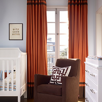 Artistic Designs for Living - nurseries - orange, brown, drapes, brown, velvet, glider, white, white, changing, table, white, crib, brown, rug, blue, walls, orange, brown, nursery, orange drapes, orange curtains, orange window panels, orange and brown drapes, orange and brown curtains, orange and brown window panels, orange curtains, orange drapes, orange window panels, two tone curtains, two tone drapes, two tone window panels, banded curtains, banded drapes, banded window panels, Trina Turk Brown Shanghai Links Embroidered Pillow, Monte - Luca Glider,