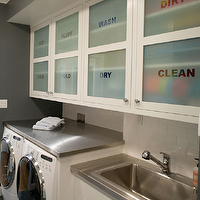 Artistic Designs for Living - laundry/mud rooms - gray, walls, paint, color, ivory, cream, cabinets, washer, dryer, laundry room,  Cute laundry