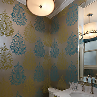 Artistic Designs for Living - bathrooms - blue, green, metallic, wallpaper, beveled, mirror, chrome, faucet, green, bathroom, cabinet, vanity, drum, pendant, light, green, blue, bathroom, Astoria Drum Pendant by Stonegate Designs,