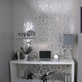 dens/libraries/offices - lacquer desk, white lacquer desk, lacquered desk, white lacquered desk, metallic wallpaper, silver metallic wallpaper, wallpaper accent wall, wallpapered accent wall,