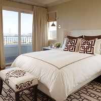 Gorgeous, chic cream & chocolate brown bedroom design with ivory drapes, ivory wingback ...