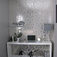 dens/libraries/offices - glossy, white, modern, console, table, desk, wallpaper, ghost chair, white desk, lacquer desk, waterfall desk, glossy white desk, glossy lacquer desk, white waterfall desk, white lacquer desk,