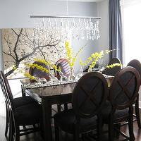dining rooms - Benjamin Moore Stonington Gray and Shadow Gray, light, artwork,  Dining Room   Crystal linear chandelier and blue silk drapes.