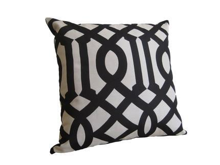 Pillows - Imperial Trellis Designer Pillow 18 inch / Black by WillaSkyeHome - imperial trellis, pillow
