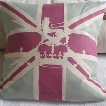 Pillows - handprinted vintage inspired union jack flag by helkatdesign - union, jack, flag, pillow