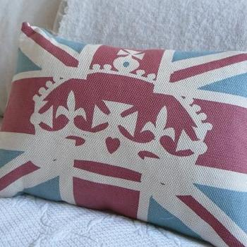 Pillows - handprinted muted red blue and ivory union jack by helkatdesign - union, jack, crown, pillow