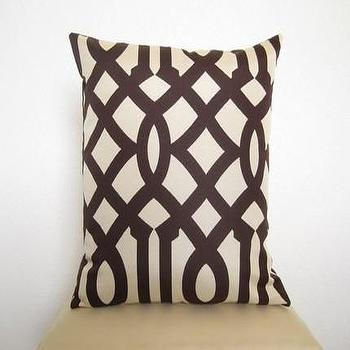 Pillows - Imperial Trellis Designer Pillow 18 inch / Java by WillaSkyeHome - imperial trellis, pillow