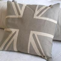 Pillows - handprinted pale greys union jack flag cushion by helkatdesign - gray, unionm jack, flag, pillow