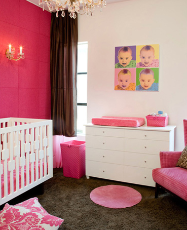 nurseries - white, pink, damask, pillows, brown, silk, drapes, white, modern, crib, white, dresser, changing, table, pink, wingback, chair, sconces, pink, walls, crystal, chandelier, brown, carpet, rug, hot, pink,