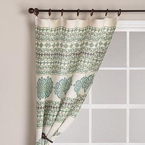 Window Treatments - Jute Ikat Curtain Panel, Aqua - Window Panels - Cost Plus World Market - ikat, drapes