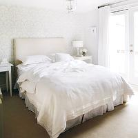 Style at Home - bedrooms - linen bedding, white linen bedding, wallpaper accent wall, wallpapered accent wall, romantic bedroom, romantic bedroom ideas, bedroom accent walll, Hundi Lantern,