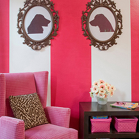 nurseries - pink velvet chair, pink wingback chair, pink wingback chair, pink chair, velvet chair, wingback chair, striped walls, white and pink walls, white and pink striped walls, vertical striped walls, dog silhouettes, ikea picture frames, ung drill frames, striped nursery, striped girls nursery,