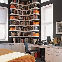Elle Decor - dens/libraries/offices - brown, gray, walls, paint, color, black, office, chair, white, lack, floating, shelves, white, desk, cabinets, white, roman, shades, orange, boxes, blanket, quilt, office, den, guest, bedroom,