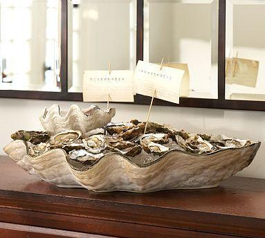 Decor/Accessories - Oversized Oyster Shell Serving Bowl | Pottery Barn - oyster, shell, serving, bowl, platter