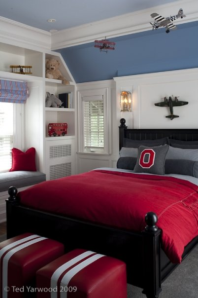 McGill Design Group - boy's rooms - red and gray bedding, red duvet, red ottoman, red leather ottoman, kids window seat, boys window seat,  Fun