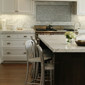 Artistic Designs for Living - kitchens - white marble subway tiles, white marble subway tile backsplash, white marble backsplash, espresso kitchen island, espresso center island, cooktop backsplash, industrial counter stools, industrial bar stools, 2 tone kitchen, Oceanic Aluminum Stool, Restoration Hardware Benson Pendant,
