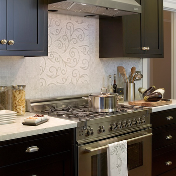 Artistic Designs for Living - kitchens - black cabinets, black kitchen cabinets, black cabinets with white marble top, black kitchen cabinets with white marble tops, mosaic marble backsplash, mosaic kitchen backsplash,