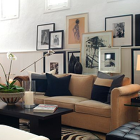 David Jimenez - living rooms - camel, brown, velvet, rolled arm, sofa, black, gray, pillows, espresso, coffee, cocktail, table, black, white, zebra, cowhide, rug, beadboard, photo, gallery, living room,
